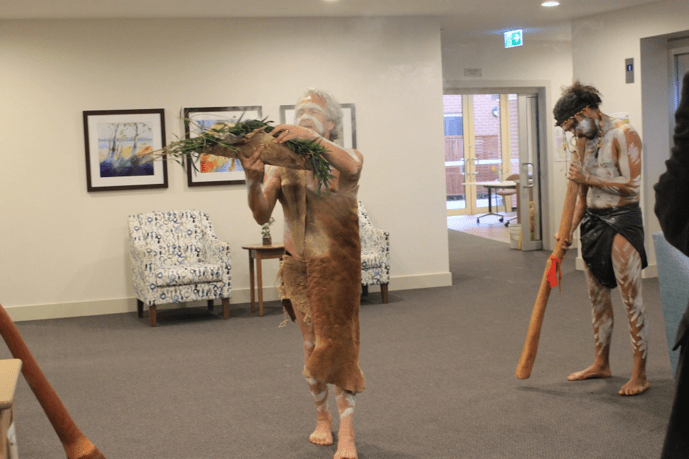 A smoking ceremony conducted by Local Elder Ian Hunt
